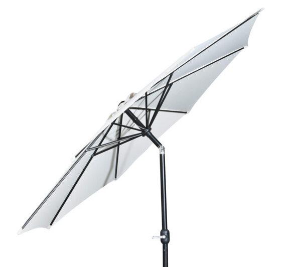 hvid parasol med tilt