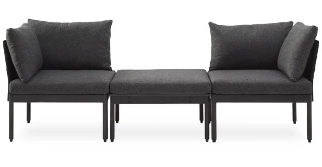sort loungesæt med chaiselong