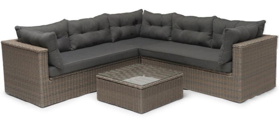 Sort polyrattan loungesæt