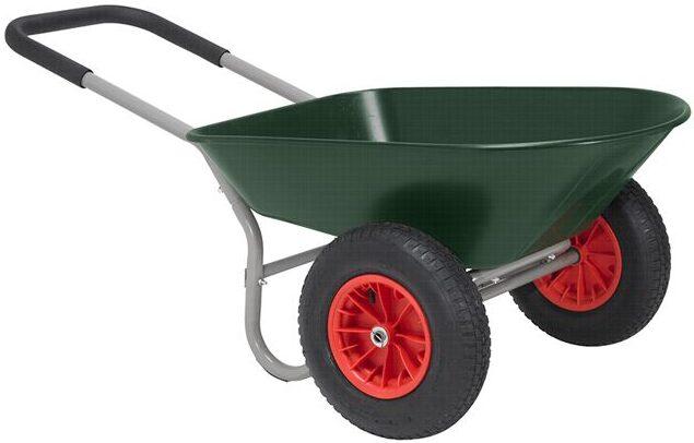 grøn trillebør med to hjul