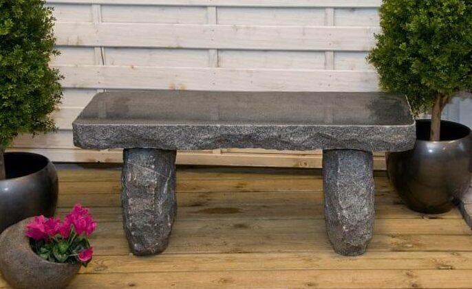 grå granit havebænk